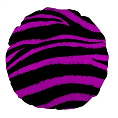 Pink Zebra Large 18  Premium Round Cushion