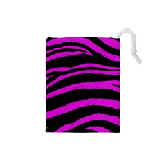 Pink Zebra Drawstring Pouch (Small)