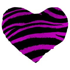 Pink Zebra Large 19  Premium Flano Heart Shape Cushion