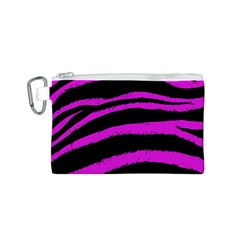 Pink Zebra Canvas Cosmetic Bag (Small)