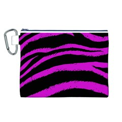Pink Zebra Canvas Cosmetic Bag (Large)