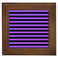 Purple Stripes Framed Ceramic Tile