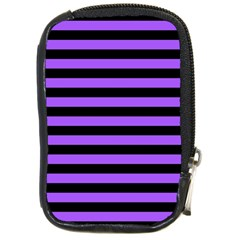 Purple Stripes Compact Camera Leather Case