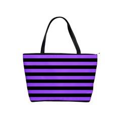 Purple Stripes Large Shoulder Bag
