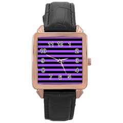 Purple Stripes Rose Gold Leather Watch