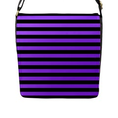 Purple Stripes Flap Closure Messenger Bag (l)