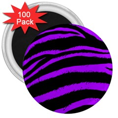 Purple Zebra 3  Button Magnet (100 Pack)