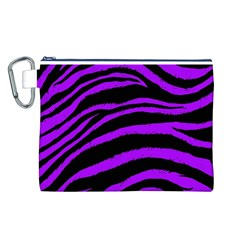 Purple Zebra Canvas Cosmetic Bag (Large)