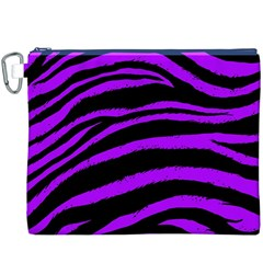 Purple Zebra Canvas Cosmetic Bag (XXXL)