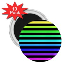 Rainbow Stripes 2 25  Button Magnet (10 Pack)