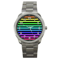 Rainbow Stripes Sport Metal Watch