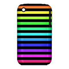 Rainbow Stripes Apple Iphone 3g/3gs Hardshell Case (pc+silicone)