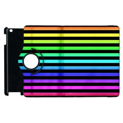 Rainbow Stripes Apple Ipad 3/4 Flip 360 Case