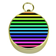 Rainbow Stripes Gold Compass