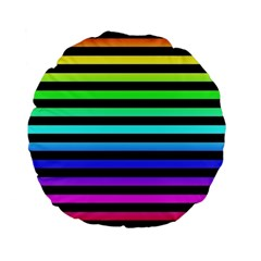 Rainbow Stripes Standard 15  Premium Flano Round Cushion