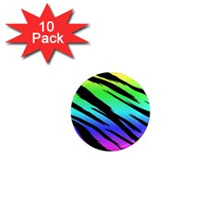 Rainbow Tiger 1  Mini Button Magnet (10 Pack)