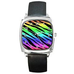 Rainbow Tiger Square Leather Watch