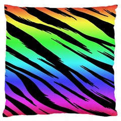 Rainbow Tiger Large Flano Cushion Case (Two Sides)