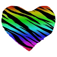 Rainbow Tiger Large 19  Premium Flano Heart Shape Cushion