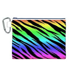 Rainbow Tiger Canvas Cosmetic Bag (Large)
