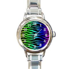 Rainbow Zebra Round Italian Charm Watch