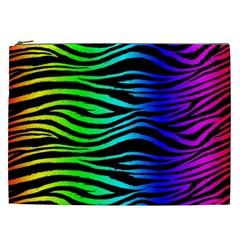 Rainbow Zebra Cosmetic Bag (xxl)