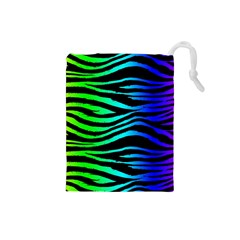 Rainbow Zebra Drawstring Pouch (Small)
