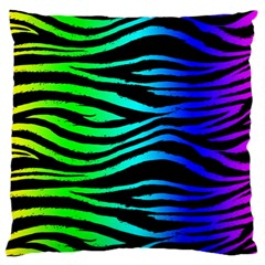 Rainbow Zebra Large Flano Cushion Case (Two Sides)