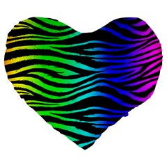 Rainbow Zebra Large 19  Premium Flano Heart Shape Cushion