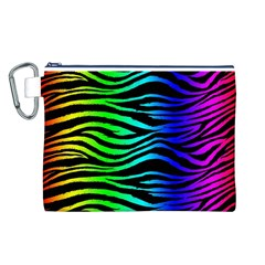 Rainbow Zebra Canvas Cosmetic Bag (Large)