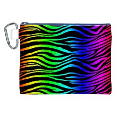 Rainbow Zebra Canvas Cosmetic Bag (XXL)
