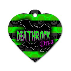 Deathrock Diva Dog Tag Heart (two Sided)