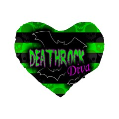 Deathrock Diva Standard 16  Premium Flano Heart Shape Cushion