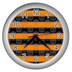 Deathrock Stripes Wall Clock (silver)