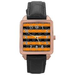 Deathrock Stripes Rose Gold Leather Watch