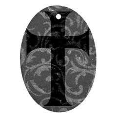 Goth Brocade Cross Oval Ornament