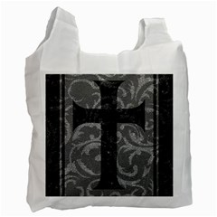 Goth Brocade Cross White Reusable Bag (two Sides)