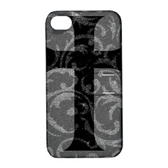 Goth Brocade Cross Apple Iphone 4/4s Hardshell Case With Stand
