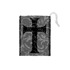 Goth Brocade Cross Drawstring Pouch (Small)