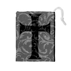Goth Brocade Cross Drawstring Pouch (Large)