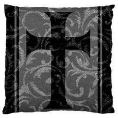 Goth Brocade Cross Large Flano Cushion Case (Two Sides)