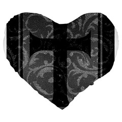 Goth Brocade Cross Large 19  Premium Flano Heart Shape Cushion