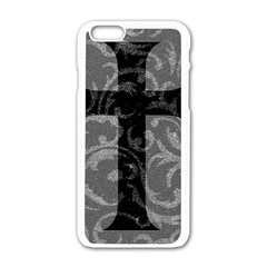Goth Brocade Cross Apple iPhone 6 White Enamel Case