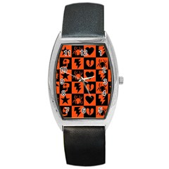 Goth Punk Checkers Tonneau Leather Watch