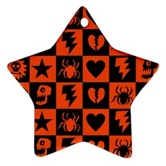 Goth Punk Checkers Star Ornament (two Sides)
