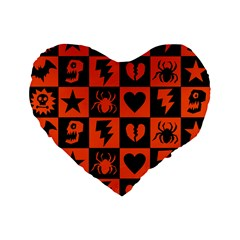 Goth Punk Checkers Standard 16  Premium Flano Heart Shape Cushion
