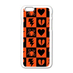 Goth Punk Checkers Apple Iphone 6 White Enamel Case