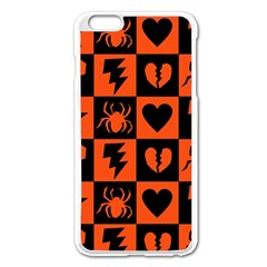 Goth Punk Checkers Apple Iphone 6 Plus Enamel White Case