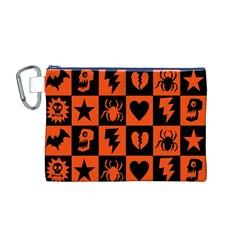 Goth Punk Checkers Canvas Cosmetic Bag (medium)