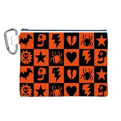 Goth Punk Checkers Canvas Cosmetic Bag (large)